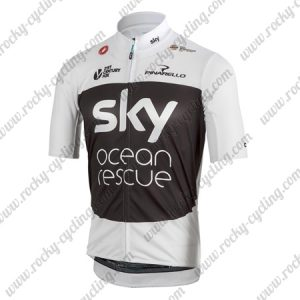 2018 Team SKY Castelli Ocean Rescue Cycling Jersey Maillot Shirt White Black
