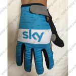 2018 Team SKY Cycling Full Finger Gloves Blue White
