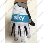 2018 Team SKY Cycling Full Finger Gloves White Blue