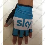 2018 Team SKY Cycling Gloves Mitts Half Fingers Blue White