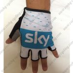 2018 Team SKY Cycling Gloves Mitts Half Fingers White Blue