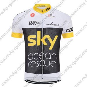 2018 Team SKY Castelli Ocean rescue Cycling Jersey Riding Shirt White Black Yellow