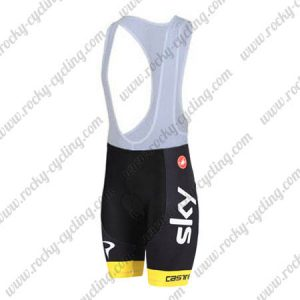 2018 Team SKY Castelli Ocean rescue Riding Bib Shorts Bottoms Black Yellow