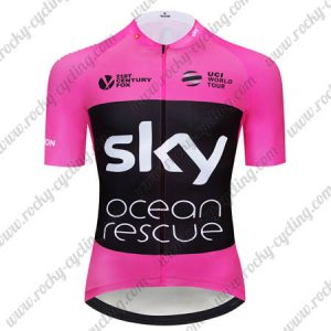 2018 Team SKY Castelli Ocean rescue UK British Biking Jersey Riding Shirt Pink Black