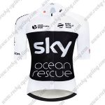 2018 Team SKY Castelli Ocean rescue UK British Biking Jersey Riding Shirt White Black
