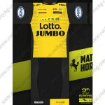 2018 Team LOTTO JUMBO Cycling Kit Yellow Black