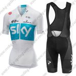 2018 Team SKY Castelli Women Cycling Bib Kit White Blue