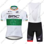 2017 Team BMC Nicolas Roche's Irish champion's Cycling Clothing Riding Bib Kit White Green