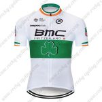 2017 Team BMC Nicolas Roche's Irish champion's Jersey Shirt Cycling CLothing White Green