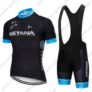2018 Team ASTANA Cycling Wear Riding Bib Set Black
