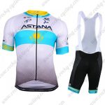 2018 Team ASTANA Riding Clothing Cycle Bib Kit White Blue