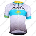 2018 Team ASTANA Riding Clothing Cycle Jersey Shirt White Blue