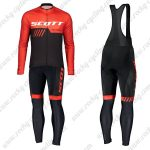 2019 SCOTT RC Team Biking Clothing Riding Long Sleeves Bib Kit Red Black