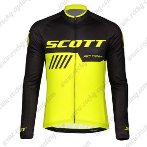 2019 SCOTT RC Team Biking Outfit Riding Long Sleeves Jersey Black Yellow