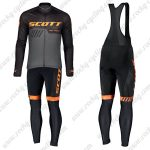 2019 SCOTT RC Team Cycling Clothing Riding Long Sleeves Bib Set Black Orange