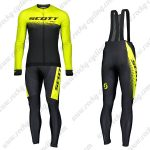 2019 SCOTT RC Team Cycling Clothing Riding Long Sleeves Bib Set Yellow Black