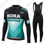 2019 Team BORA hansgrohe Riding Outfit Cycle Long Bib Set Black Blue