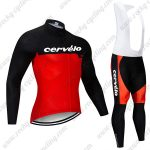 2019 Team Cervelo Riding Outfit Cycle Long Bib Suit Black Red