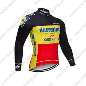 2019 Team Deceuninck QUICK STEP Belgian Champion Cycle Clothing Riding Long Sleeves Jersey Black Yellow Red