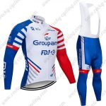 2019 Team Groupama FDJ Bike Clothing Riding Long Bib Suit White Blue Red