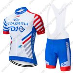 2019 Team Groupama FDJ Cycle Clothing Riding Bib Kit White Blue Red