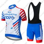 2019 Team Groupama FDJ Cycling Wear Riding Bib Kit White Blue Red