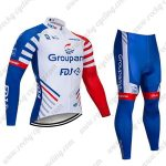 2019 Team Groupama FDJ Cycling Wear Riding Long Suit White Blue Red