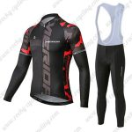 2019 Team MERIDA Biking Wear Riding Long Sleeves Bib Set Black Red