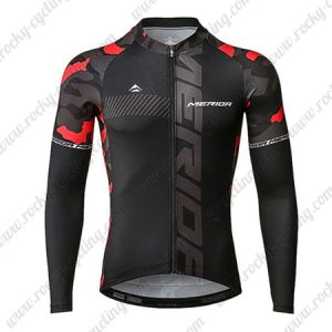 2019 Team MERIDA Cycle Outfit Riding Long Sleeves Jersey Black Red