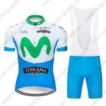 2019 Team MOVISTAR TOSCANA Cycling Clothing Riding Bib Kit White Blue Green