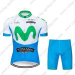 2019 Team MOVISTAR TOSCANA Cycling Clothing Riding Kit White Blue Green