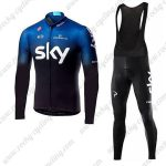 2019 Team SKY Castelli Riding Outfit Cycling Long Bib Set Blue Black