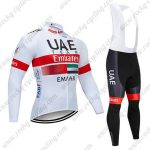 2019 UAE Team Emirates EMAAR Cycling Wear Riding Long Sleeves Bib Suit White