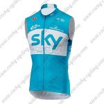 2018 Team SKY Riding Vest Sleeveless Waistcoat Rain-proof Windbreak Blue White