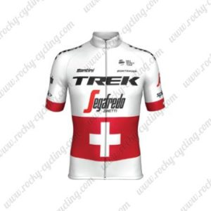 2019 Team TREK Segafredo Switzerland Champion Riding Wear Cycle Jersey White Red