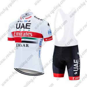 2019 UAE TEAM Emirates EMAAR Cycling Clothing Riding Bib Kit White Red