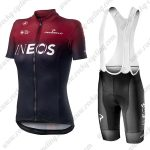 2019 Team Castelli INEOS Womens Biking Apparel Set Lady Riding Bib Kit Red Black