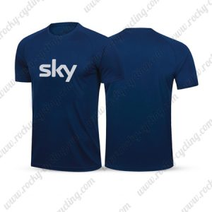 2019 Team SKY Riding Clothing Cycling T-Shirt Round Neck Short Sleeves Blue