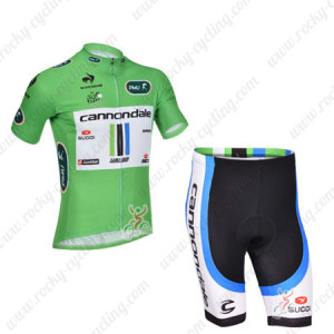 2013 Team Cannondale Tour de France Cycling Green Jersey Shorts Kit