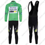 2011 HTC Highroad Cycling Long Black Bib Kit Green