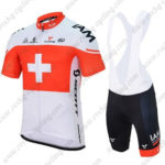2016 Team IAM Switzerland Cycling Bib Kit White Red