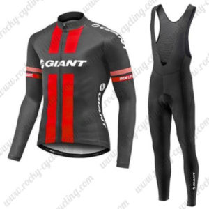 2017 Team GIANT Cycling Long Bib Suit Black Red
