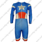 2015 Captain America Long Sleeves Triathlon Biking Clothing Skinsuit Blue