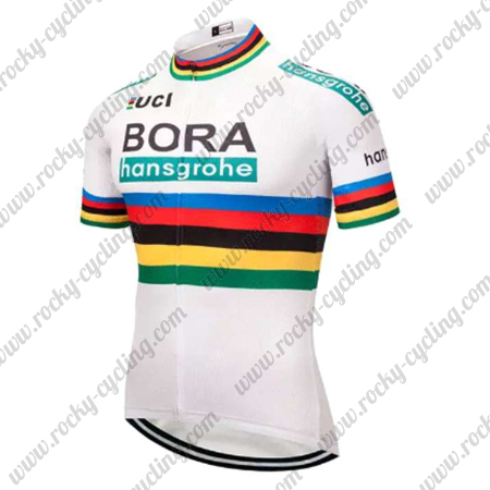 the best attitude 094ef 8083d 2018 Team BORA hansgrohe UCI Champion Cycling Jersey Maillot Shirt White  Rainbow