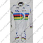 2012 Team SKY UCI Champion Cycling SkinSuit Speedsuit Triathlon White Rainbow
