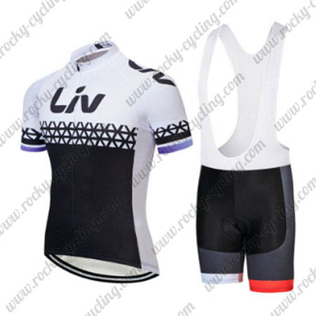 2018 Team LIV Womens Ladies  Racing Outfit Cycle Jersey and Padded Bib  Shorts Black White e9703128b
