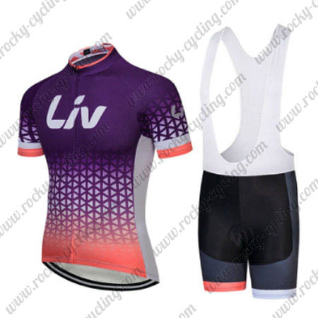 2018 Team LIV Womens Ladies  Racing Outfit Cycle Jersey and Padded Bib  Shorts Purple ec540a4bc