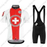2019 Team ASSOS SUISSE Cycling Wear Riding Bib Set White Red