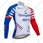 2019 Team Groupama FDJ Bike Clothing Riding Long Sleeves Jersey White Blue Red