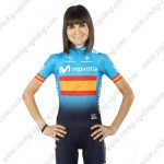 2019 Team MOVISTAR Spain Womens Lady Biking Apparel Kit Blue